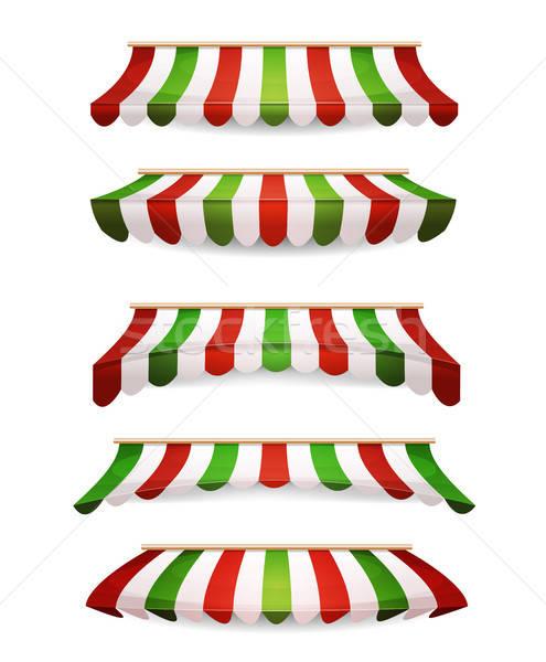 Сток-фото: итальянский · полосатый · рынке · магазине · иллюстрация · набор
