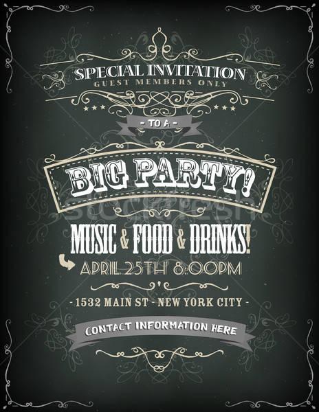 Retro buli meghívó tábla illusztráció poszter meghívó Stock fotó © benchart