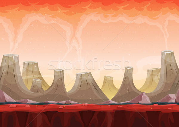 Seamless Volcano Planet Landscape For Ui Game Stock photo © benchart