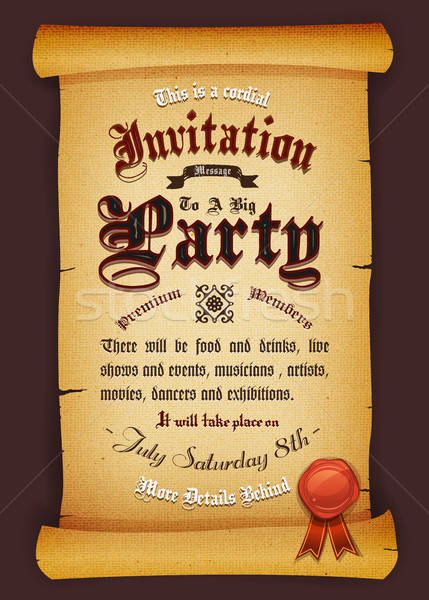 Vintage Invitation On Parchment Stock photo © benchart