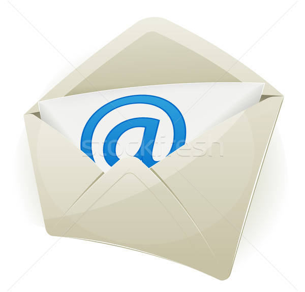 Email ikon illusztráció boríték szimbólum fehér Stock fotó © benchart