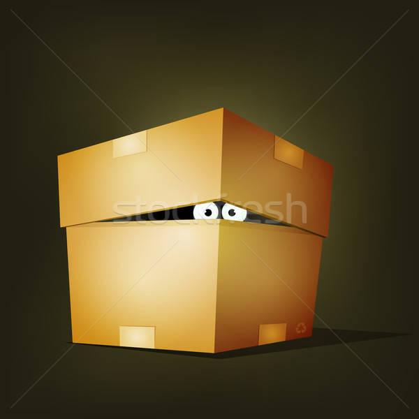 Creature Inside Birthday Cardboard Box Stock photo © benchart