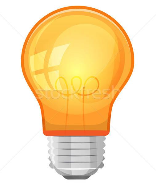 Rajz villanykörte illusztráció citromsárga izolált fehér Stock fotó © benchart
