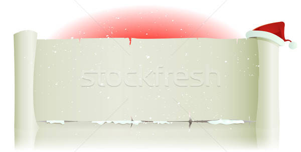 Santa Claus Hat On Merry Christmas Parchment Background Stock photo © benchart