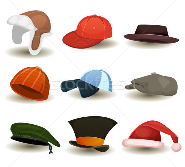 Caps, Top Hats And Other Headwear Set Stock photo © benchart