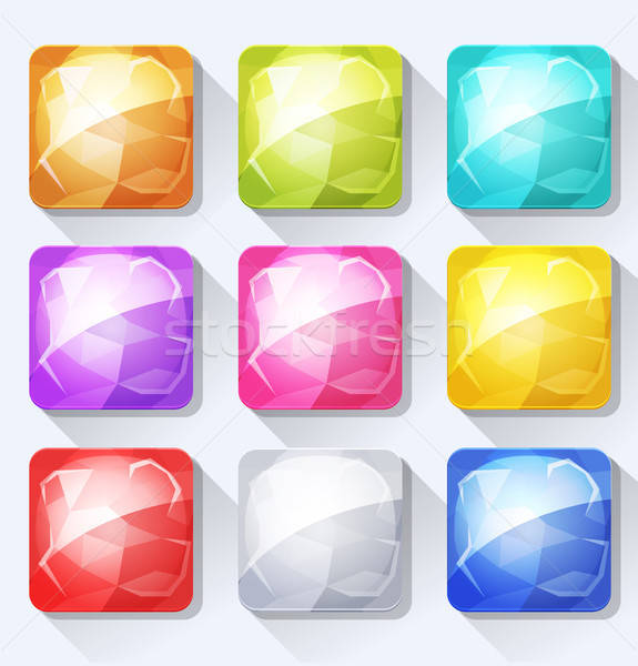 Gems And Jewel Icons And Buttons Set For Mobile App And Game Ui Stock photo © benchart