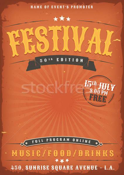 Festival de musique grunge affiche illustration vintage vieux Photo stock © benchart