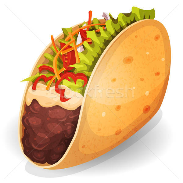 Mexicaanse taco icon illustratie smakelijk cartoon Stockfoto © benchart
