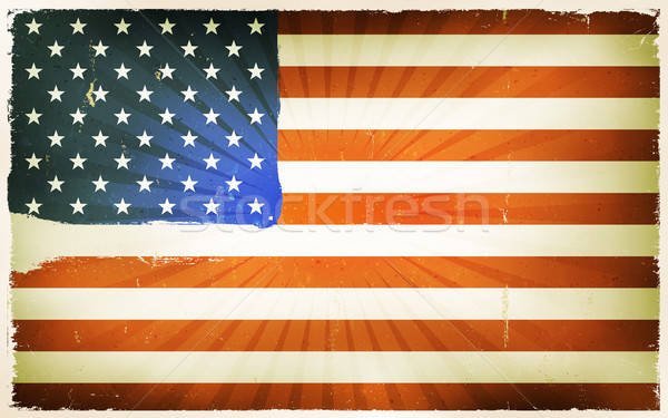 Vintage American Flag Poster Background Stock photo © benchart