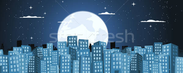 Cartoon Buildings Background In The Moonlight Stock photo © benchart