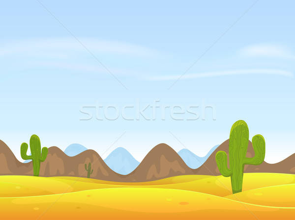 Désert paysage illustration cartoon cactus sable Photo stock © benchart