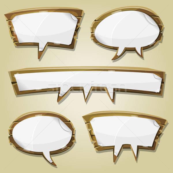 Paper Signs On Wood Speech Bubbles Set Stock photo © benchart