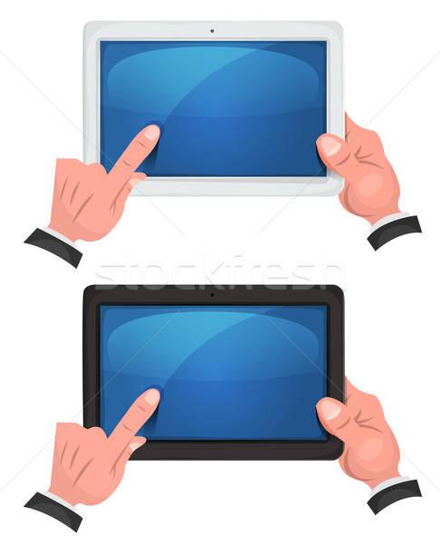 Manos pantalla táctil digital tableta ilustración establecer Foto stock © benchart