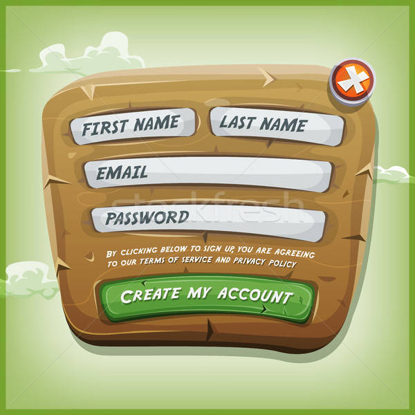 Login Form On Wood Panel For Ui Game Stock photo © benchart