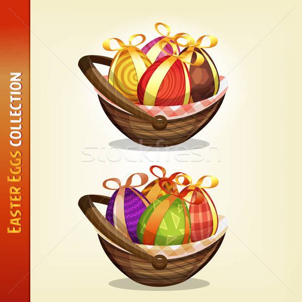 Easter Eggs Inside Baskets Stock photo © benchart