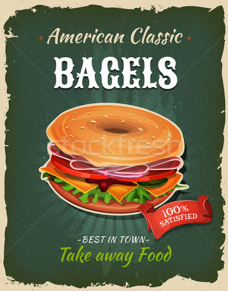 Retro Fast Food Bagel Poster Stock photo © benchart