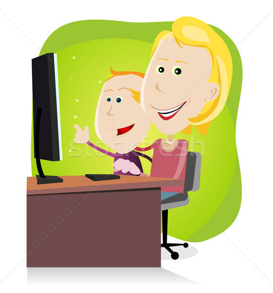 Mom and son surfing on the net Stock photo © benchart