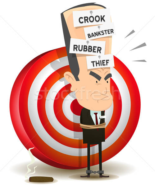Bankster Punishment With Dartboard Stock photo © benchart