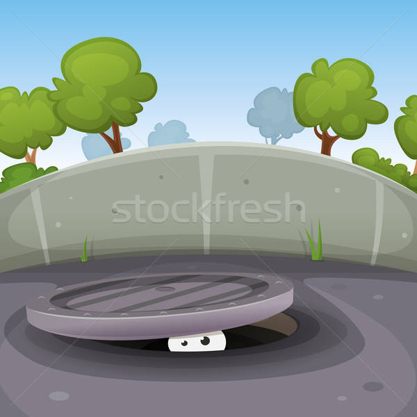 Eyes Spying From Manhole Stock photo © benchart