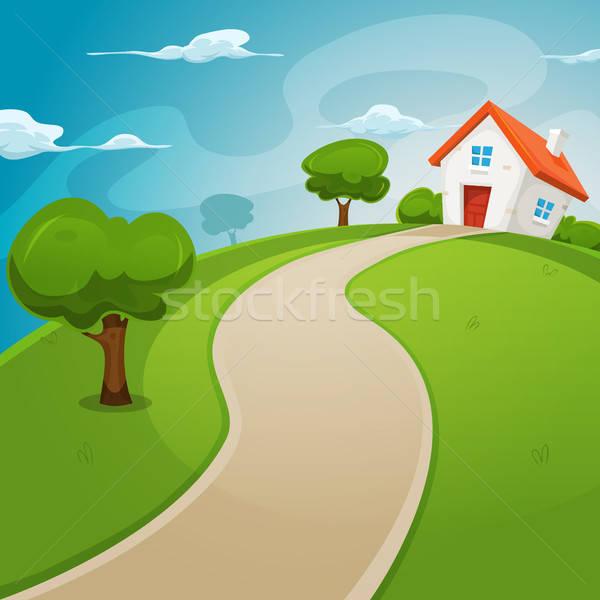 Ház bent zöld mezők illusztráció rajz Stock fotó © benchart