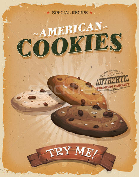 Grunge And Vintage American Cookies Poster Stock photo © benchart