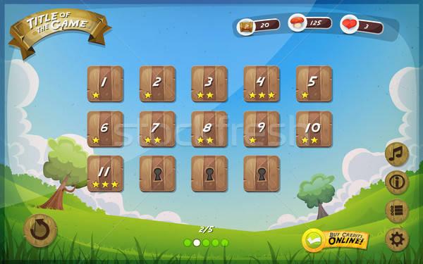 Játék felhasználó interfész terv tabletta illusztráció Stock fotó © benchart