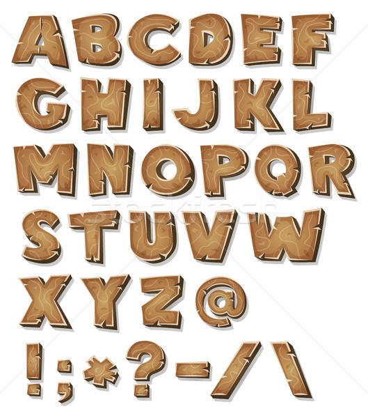 Dessinées bois alphabet illustration bois Photo stock © benchart