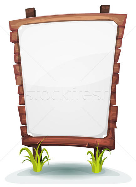 White Paper Sign On Wood Panel Stock photo © benchart