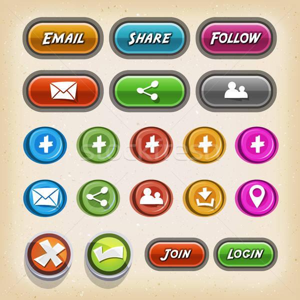 Iconos botones juego ui ilustración establecer Foto stock © benchart