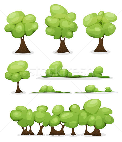 Cartoon Trees, Hedges And Bush Leaves Set Stock photo © benchart