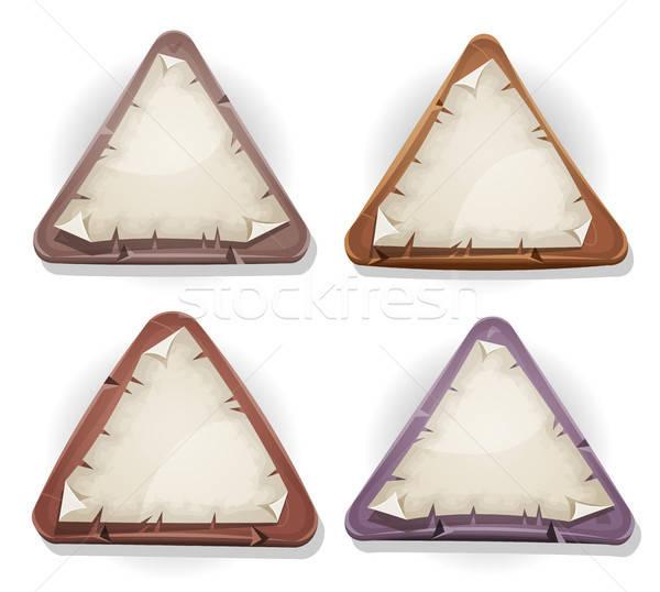 Papel rasgado signos piedra madera ilustración establecer Foto stock © benchart