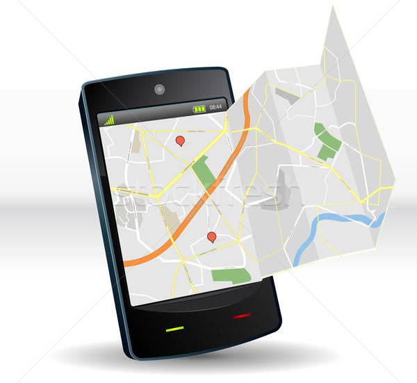 Street Map On Smartphone Mobile Device Stock photo © benchart