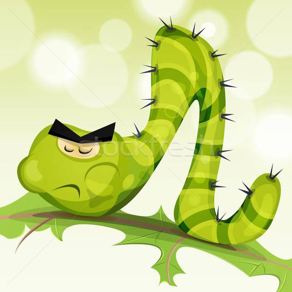 Grappig rups karakter illustratie cartoon groene Stockfoto © benchart