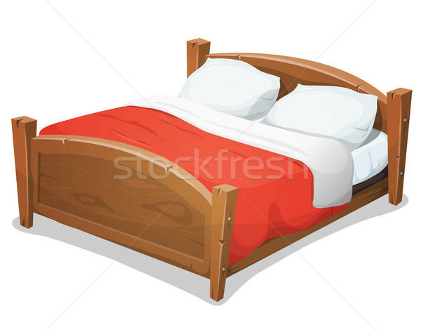 Madeira dobrar cama vermelho cobertor ilustração Foto stock © benchart