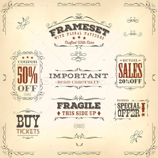 Hand Drawn Vintage Banners And Ribbons Stock photo © benchart
