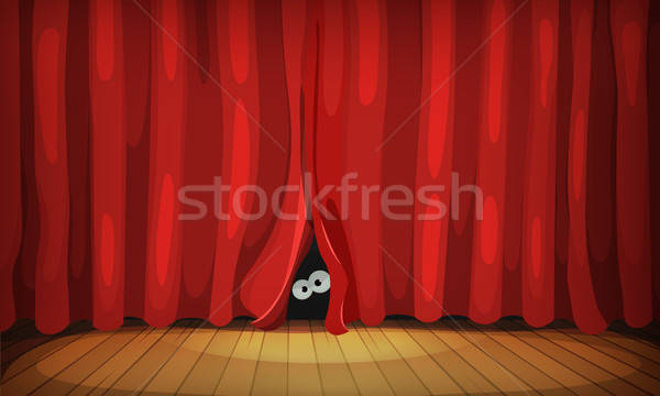 Eyes Behind Red Curtains On Wood Stage Stock photo © benchart