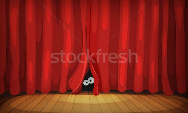 Gözler arkasında kırmızı perde ahşap sahne Stok fotoğraf © benchart