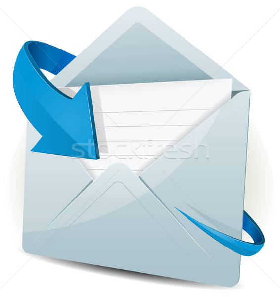 E-mail icon Blauw pijl illustratie inbox Stockfoto © benchart