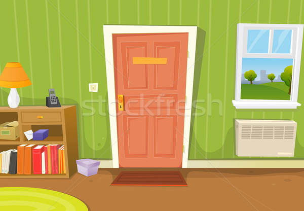 Illustratie cartoon home interieur woonkamer deur Stockfoto © benchart