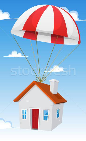 Huis luchtpost scheepvaart levering illustratie cartoon Stockfoto © benchart