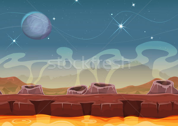 Fantasy Alien Planet Desert Landscape For Ui Game Stock photo © benchart