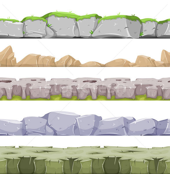 Naadloos landschap spel ui illustratie ingesteld Stockfoto © benchart