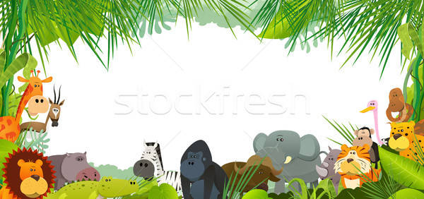 Photo stock: Carte · postale · sauvage · africaine · animaux · illustration · cartoon