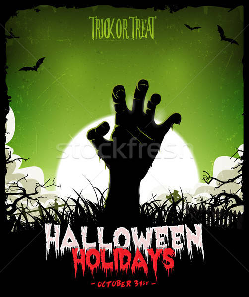Halloween Background With Undead Zombie Hand Stock photo © benchart