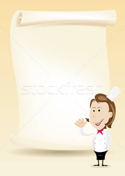 Femme chef restaurant affiche menu illustration Photo stock © benchart