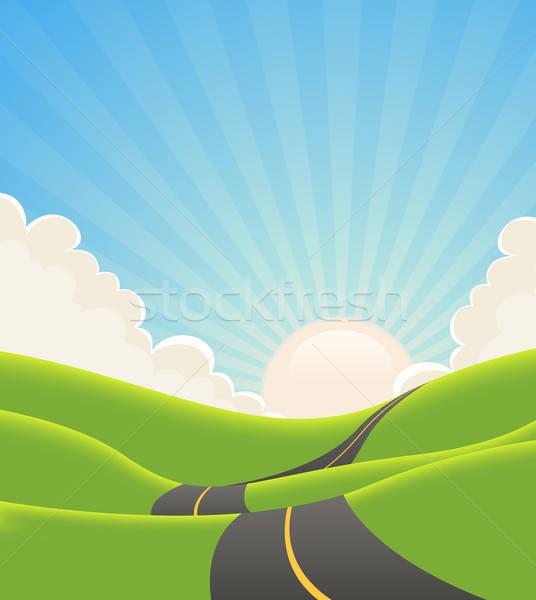 Stock photo: Blue Summer Landscape Road