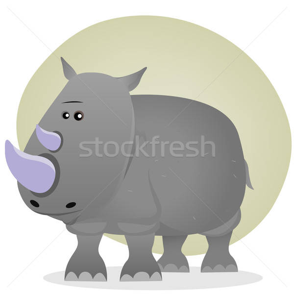 Cute cartoon neushoorn illustratie grijs Stockfoto © benchart
