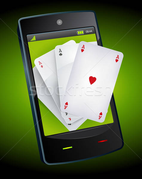 Smartphone Gambling - Poker Aces Stock photo © benchart