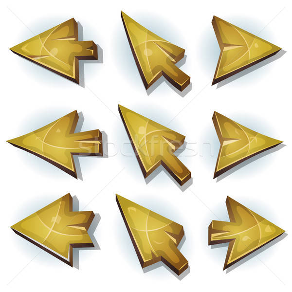 Wood Icons, Cursor And Arrows Stock photo © benchart
