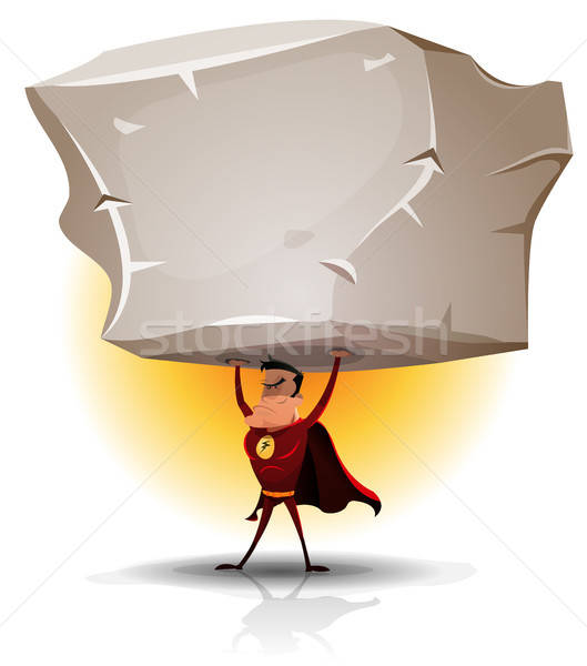 Superhero Holding Heavy Big Boulder Stock photo © benchart